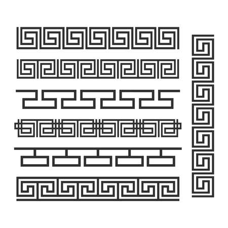 Ancient greek ornament. Vector seamless horizontal borders. Ancient seamless greek decoration border set illustration Ilustração