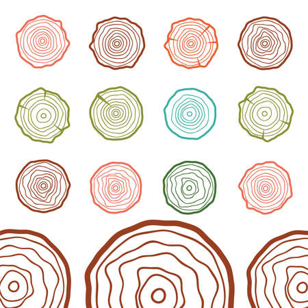 Wood poster template. Annual growth rings vector. Wood texture vector
