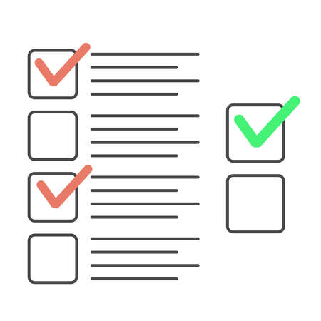 Checklist with tick marks. Check list exam vector illustration