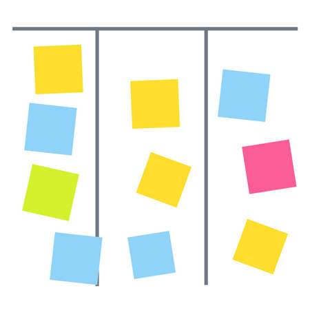 Process planning board with color sticky notes. Board with colored note sticker vector