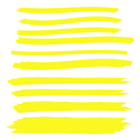 Yellow highlight marker lines. Brush pen underline. Yellow watercolor hand drawn highlight