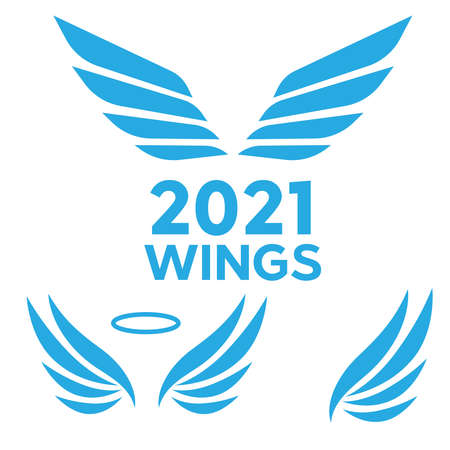 Wings logotype set. Bird wing or winged design. Bird wings vector logo. Vector angel winged label