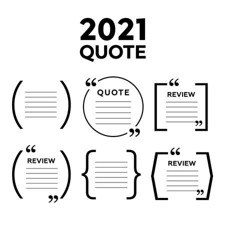 vector set of Creative quote text template. Quote blank template. Empty quote bubble.