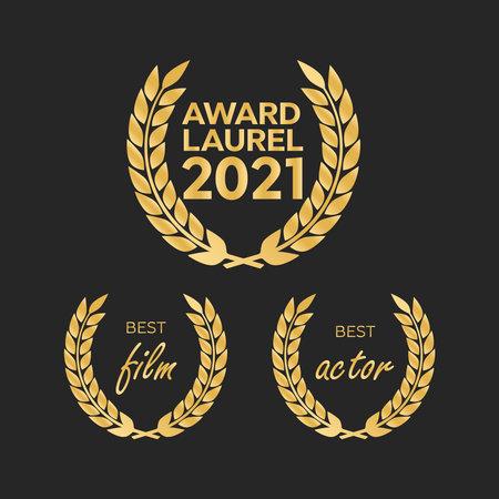 Gold award laurel wreath. Winner triumph and success vector laurel