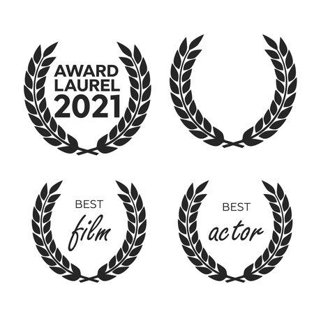 Film Awards, gold award. Winner triumph and success vector laurel Ilustracja