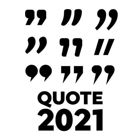 Quotes icon set. Quotation mark black symbols. Typographic Quote Template Bubble.