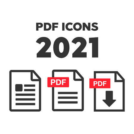 PDF Download icon. File download icon. Document text, symbol web format information 向量圖像