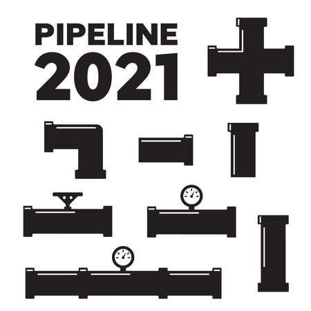 Water pipes and taps vector silhouette. Pipe fittings vector icons set
