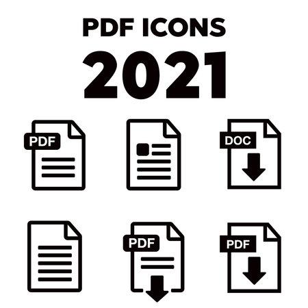PDF File download icon. Document text, symbol web format information. Pdf icon 向量圖像