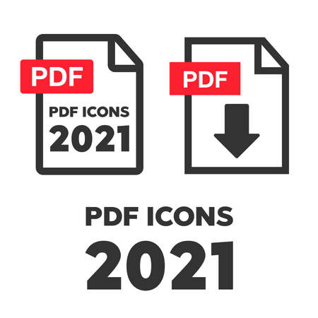 PDF File download icon. Document text, symbol web format information. Document icon set 向量圖像