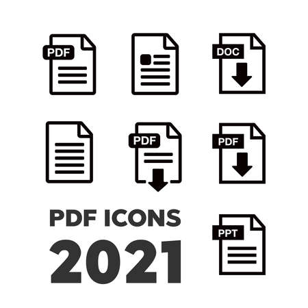 File download icon. Document icon set. PDF file download icon 向量圖像