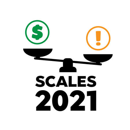 Vector scales icon. Time and money on scales