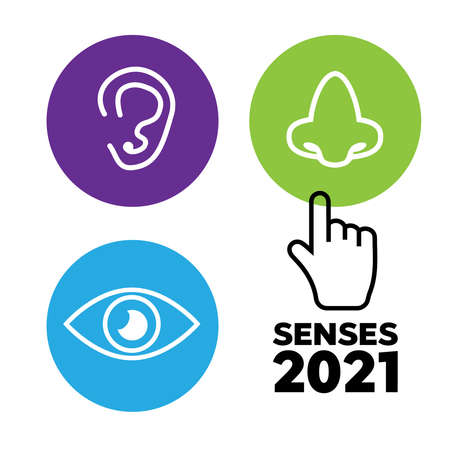 Sets of icons representing the five senses. Sight, smell, hearing, touch, taste icons vector  イラスト・ベクター素材