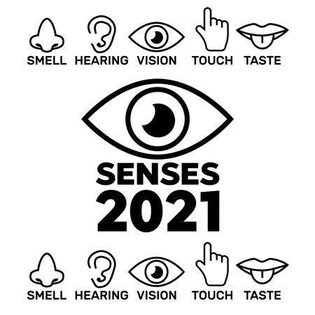 5 senses symbols illustration