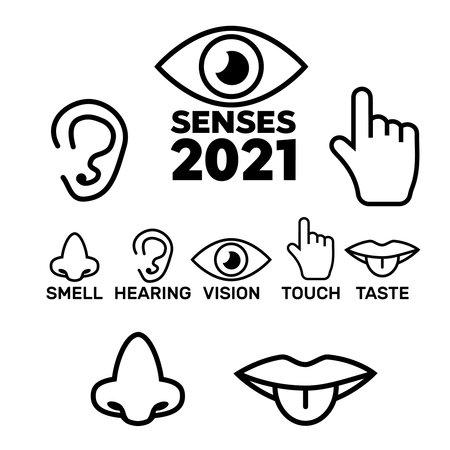 Five senses icons. 5 senses symbols