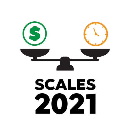 Scales vector. balance icons. Business success