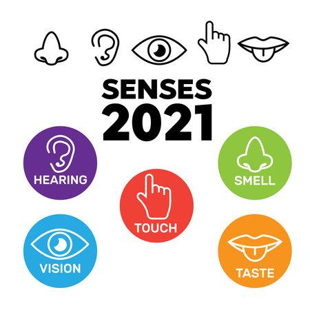Five senses icon. Sets of icons representing the five senses