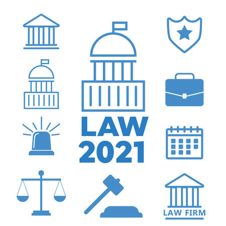 Lawyer and law office. Law police flat vector illustration