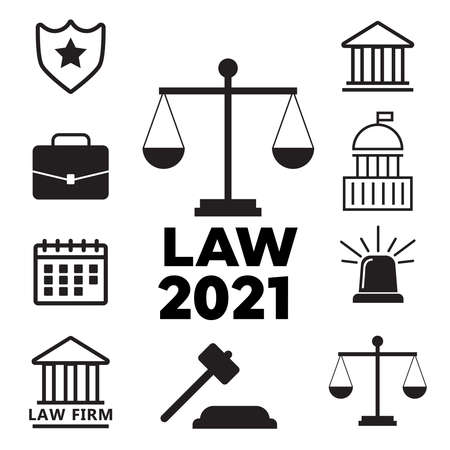 Law and justice flat icons. Law police flat vector illustration Illustration