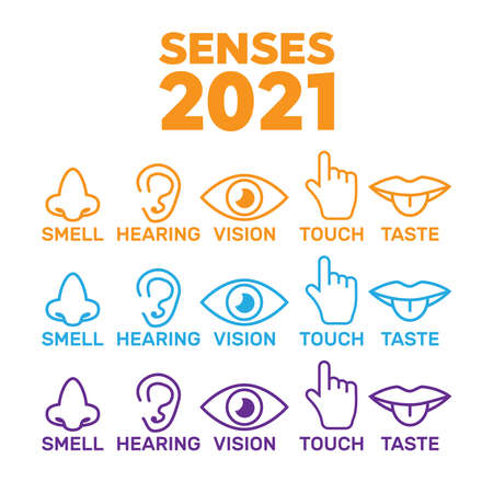 Set of icons of the five human senses.