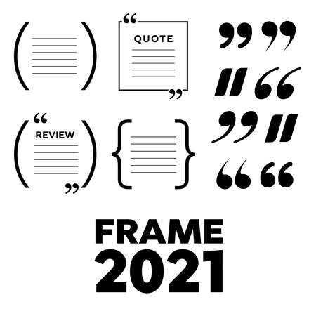 Creative quote and comment text frame template. Empty quote bubble. Color quote bubble.