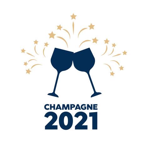 Bottle of Champagne explosion vintage. Champagne logo illustration