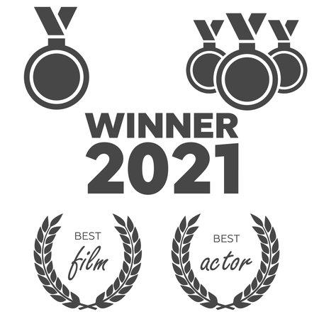 Film Awards, gold award. Winner triumph and success vector laurel 向量圖像