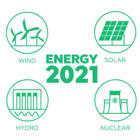 Renewable energy. Eco energy concept. Hydroelectricity, geothermal, solar and wind energy Illustration