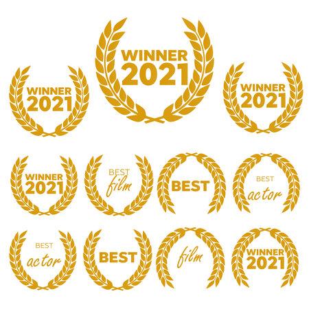 Vector medal and award icons set. Laurel wreaths and ribbon rosettes vector Standard-Bild - 161796628