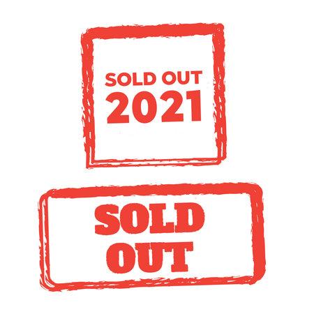 sold red grunge stamp. Sold out 2021 stamps grunge. Ilustração