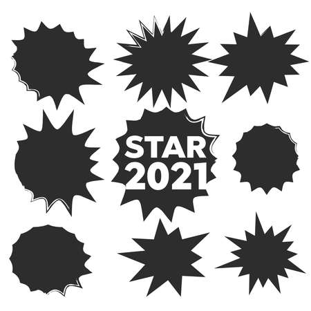 Starburst isolated icons set. Starburst 2021 explosion comic shapes.