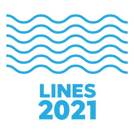 Set of wavy lines 2021. Curvy and zigzag cross horizontal lines