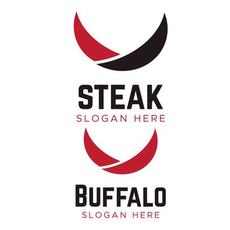 Creative Abstract Bull Concept Logo. Bull horns line logo symbol Ilustrace