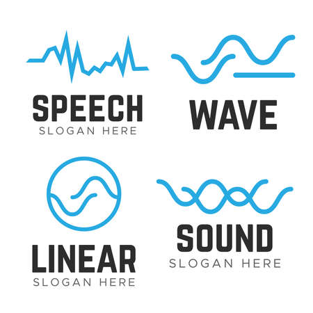Water wave Logo Template. Wave sound speech logo