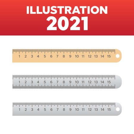Metric inch rulers set. Metric and inch scale vector
