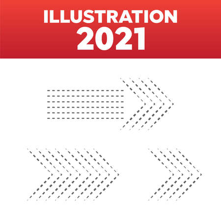 Dotted arrows set. Arrow halftone vector sign Illustration