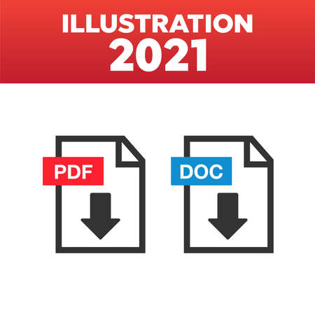 PDF File Icons. Document icon set. File Icons line style illustration 矢量图像