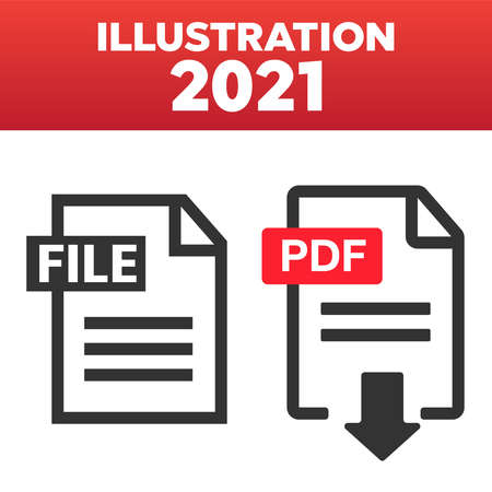PDF File download icon. Document text, symbol web format information. Pdf icon 矢量图像