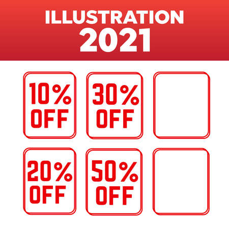 Advertising stamps. OFF and sale, discount stamps vector illustration 矢量图像