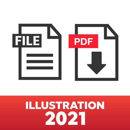 PDF File download icon. Document text, symbol web format information. Document icon set 矢量图像