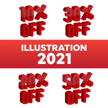 Discount numbers 3d vector. 10 percent off, 15 off, 20 off and 30 percent off discount