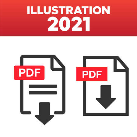 File download icon. Document icon set. PDF file download icon 矢量图像