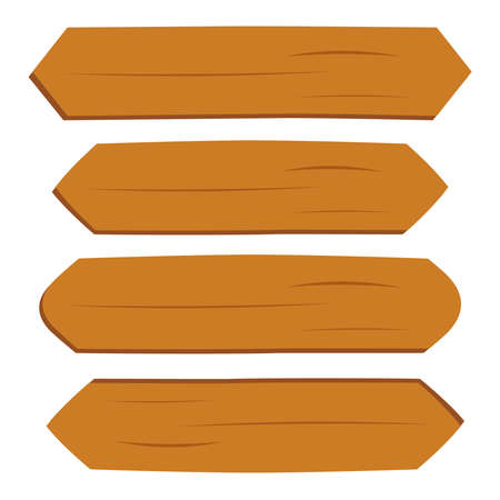 Cartoon wooden brown plate empty vector banners. Vintage wood ribbons set. Plank wood and blank wooden banner illustration