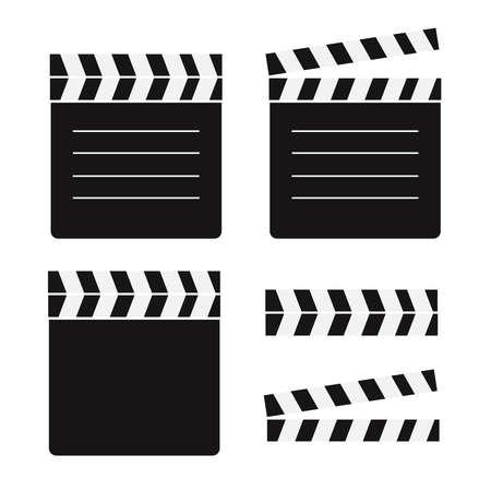 Movie clapperboard. Film action board, cinematography vector illustration