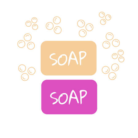 Soap bar with bubbles. Foam aromatic vector icon