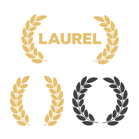 Set of silhouette circular laurel. Laurel wreath with golden ribbon Vetores