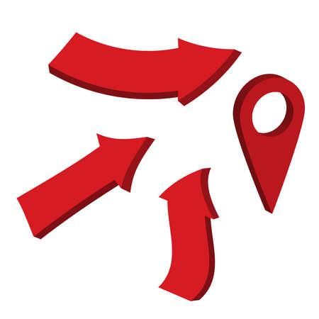 Glossy red 3d arrows. Arrow 3d web curve vector