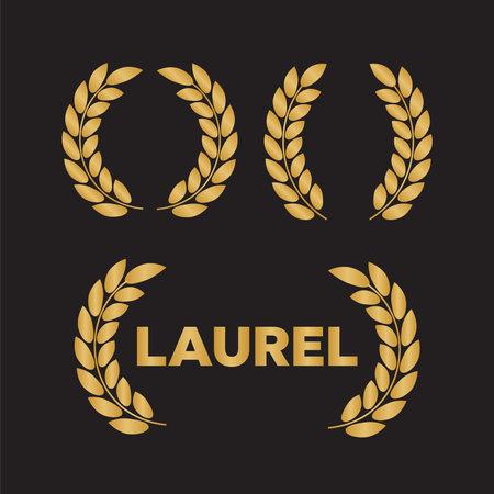 Set of gold silhouette film award wreaths. Icon laurel wreat