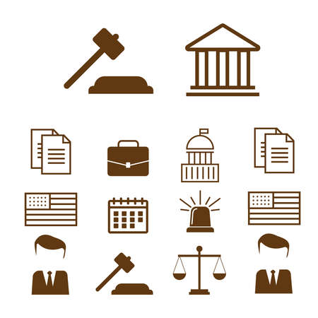 Lawyer concept. Lawyer icons in flat style. Law police flat vector illustration Illustration
