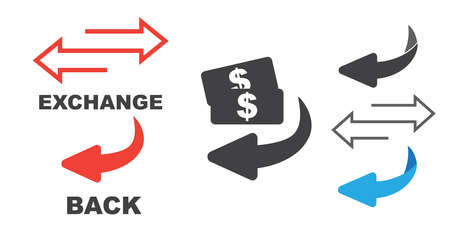 Flip over or turn. Back Arrow icon flat Vecteurs
